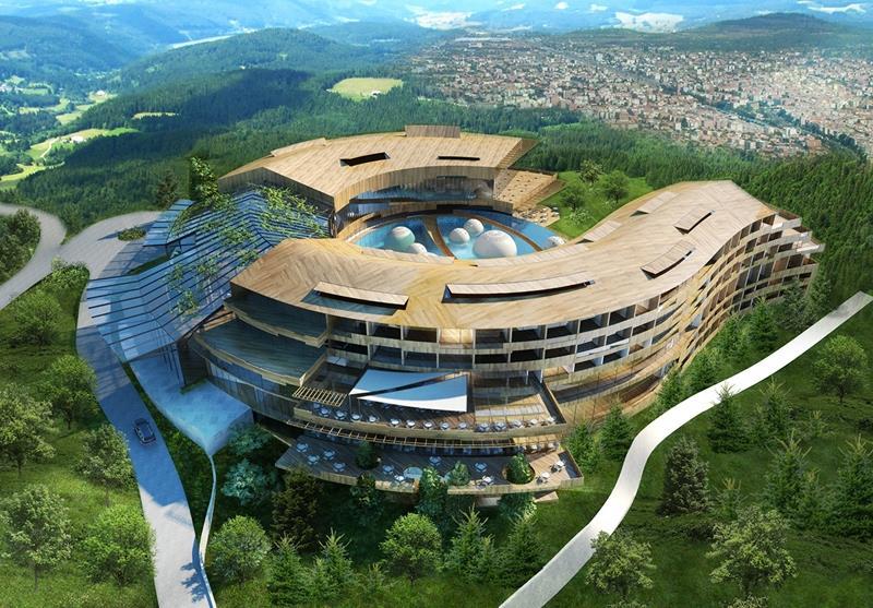 Technowood cladding on the Eskisehir hotel in Turkey