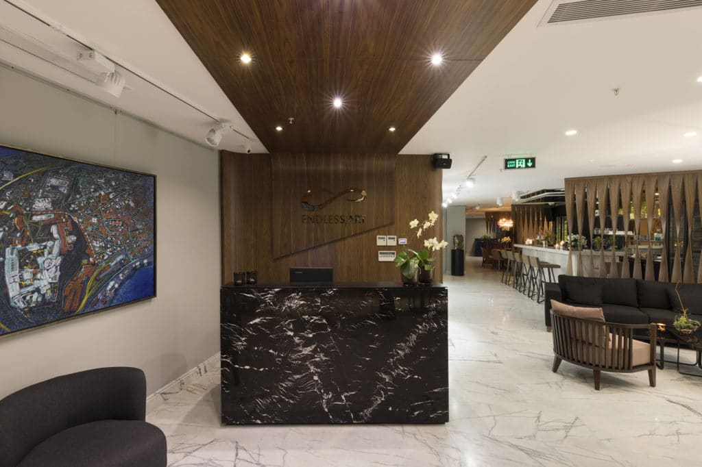 Technowood used in the lobby of the Endless Art Hotel