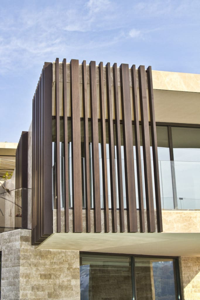 Close up of Technowood used to clad exterior of a villa