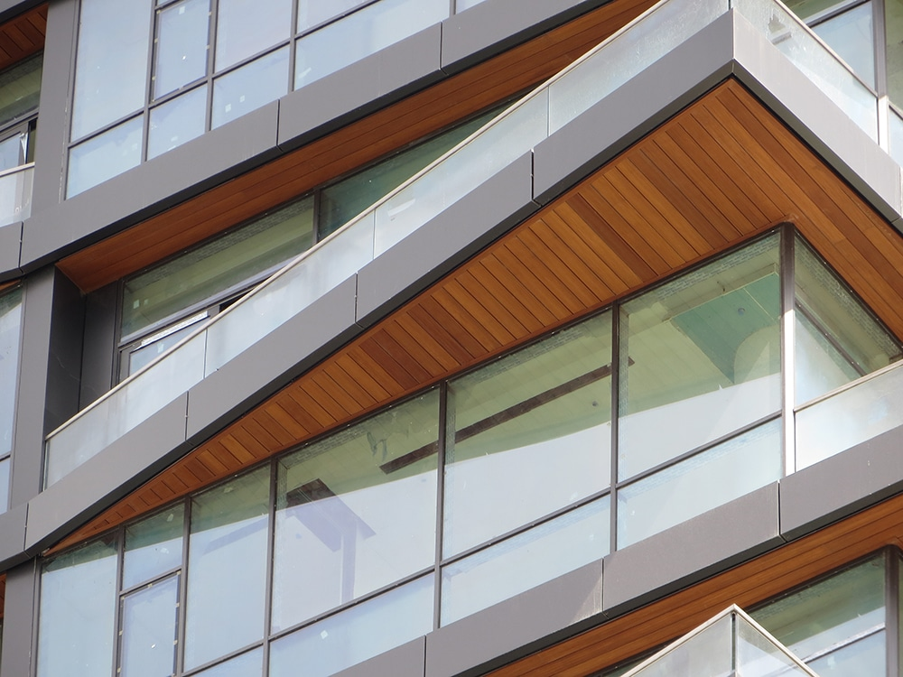 Commercial, residential and shopping centre finished with Technowood cladding
