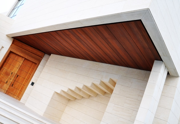 Technowood used to clad an external ceiling