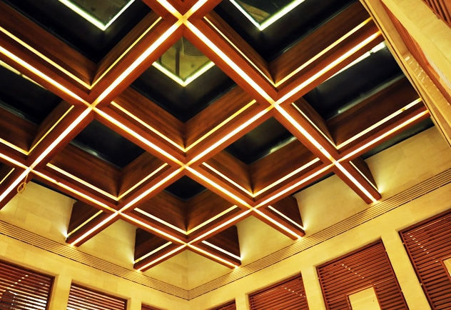 Technowood used to on an internal ceiling
