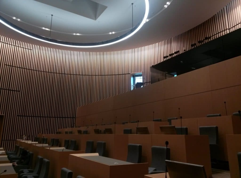 council chamber with timber interior